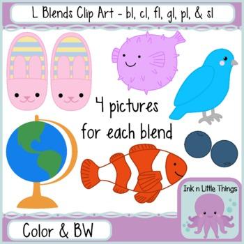 L Blends Clip Art Bundle- bl, cl, fl, gl, pl, & sl clipart