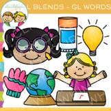 L Blends Clip Art - GL Words - Volume One