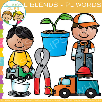 L Blends Clip Art - PL-Words
