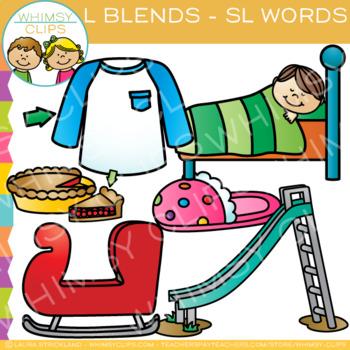 L Blends Clip Art - SL-Words