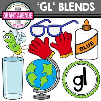 L Blends Clipart - GL Words Clipart