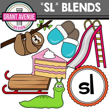 L Blends Clipart - SL Words Clipart