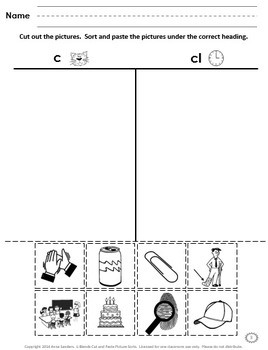 L-Blends Cut and Paste Picture Sorts--Phonics / Phonemic Awareness Worksheets