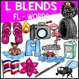 L Blends FL Words Clip Art Bundle {Educlips Clipart}