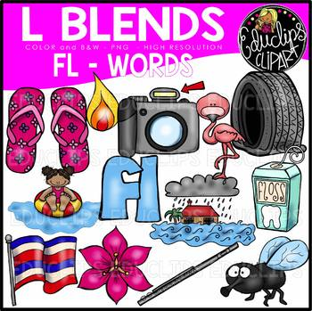 L Blends FL Words Clip Art Bundle {Educlips Clipart}