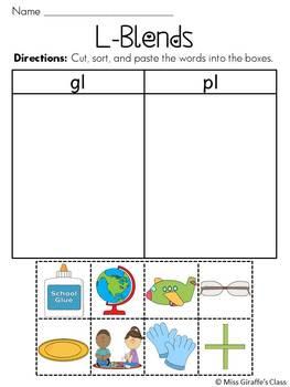 L Blends Worksheets Pack