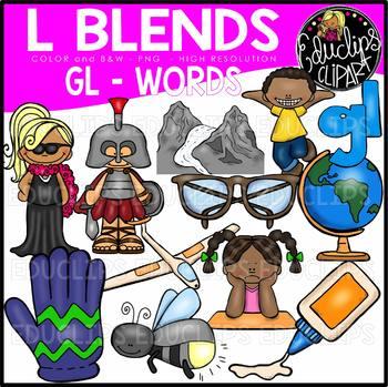 L Blends GL Words Clip Art Bundle {Educlips Clipart}