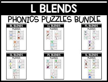 L Blends Phonics Centers:  Picture and Word Match Puzzles BUNDLE