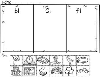 L Blends (Pocket Chart Activity and Worksheets)