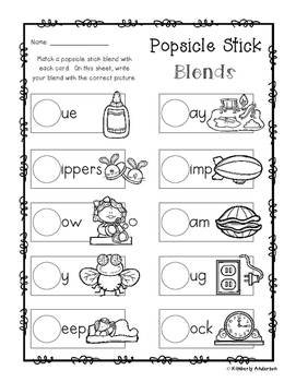 L-Blends Popsicle Stick and Activity Sheet (L Blends)