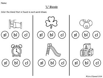 """L"" Blends Practice Pack"