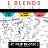NO PREP L Blends Worksheets Phonics Word Work