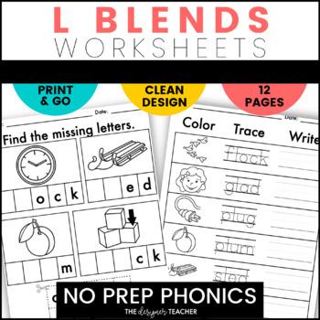 NO PREP Print & Go L Blends Word Work