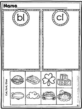 Kindergarten Beginning Blends Practice Sheets and Center Sorts (Bundle)