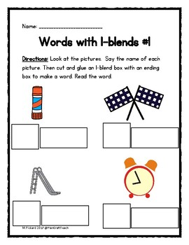 L- Blends Sort Activities with Picture Cards