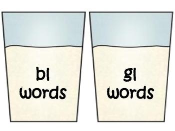 L Blends Word Sort Center fl- bl- gl- cl-