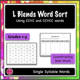 L Blends Word Sort Grades 1-3 {Differentiated + Seat work}