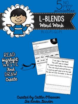 L-Blends Word Work Printables