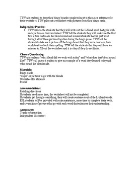 L Blends and Short O Lesson Plan with activities
