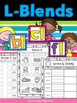 L-Blends (bl, cl, fl) Phonics Worksheets (No Prep)