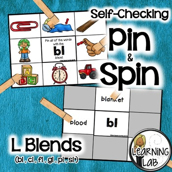L Blends (bl, cl, fl, gl, pl, sl) - Self-Checking Phonics Centers