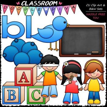 L Blends (bl-cl-fl-gl-pl-sl) Clip Art & B&W Bundle