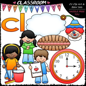 L Blends (cl) Phonics Clip Art - Consonants Clip Art