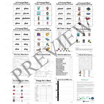 L Consonant Blend Activity Packet and Worksheets