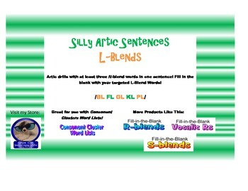 L Consonant Clusters-Fill in the Blank Sentences for Articulation Drills