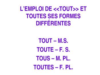 French - Review of TOUT, TOUTE, TOUS, TOUTES
