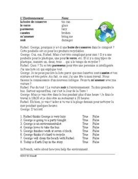 L'Environnement Lecture en Français - The Environment French Reading - Earth Day