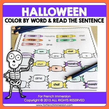 FRENCH Halloween Color by Word   Halloween en français
