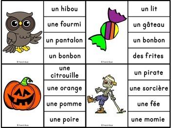L'Halloween - Jeu d'association #1 - French Halloween Clip Cards