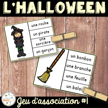 L'Halloween - Jeu d'association #1 - French Halloween Clip Cards