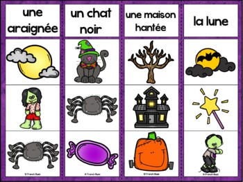 L'Halloween - Jeu d'association #2 - French Halloween Clip Cards