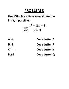L'Hopital's Rule Code Activity