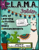 L.L.A.M.A. Homework Folder Covers --- EDITABLE Llama Themed Take Home Folders