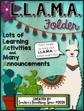 L.L.A.M.A. Homework Folder Covers --- EDITABLE Llama Theme