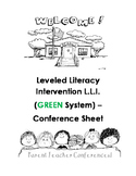 L.L.I. Green System Parent - Teacher Conference sheet