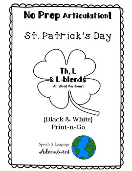 L, L-blends, and Th Articulation St. Patrick's Day - NO PREP [BW]