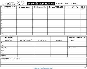 L'ORTHOGRAPHE ET LA DICTÉE DE LA SEMAINE: Junior & Intermediate Grades