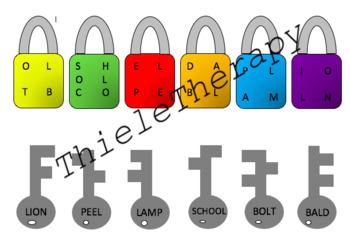 L Phoneme Lock Unscramble Matching Activity
