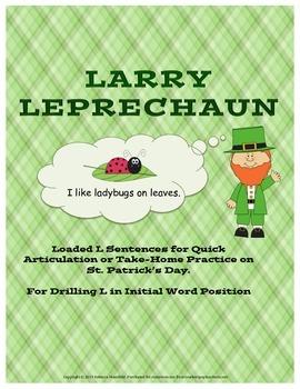 L Sentences Articulation Worksheet for St. Patrick's Day FREE