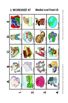 L Vocabulary Picture Grids