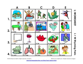 L Vocabulary Picture Grids: L & W Rhyming Pairs for Sound Discrimination
