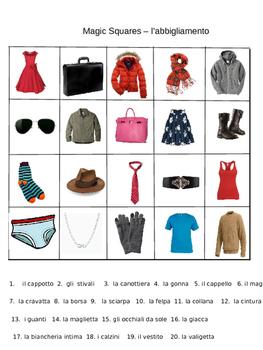 L'abbigliamento clothing in italian