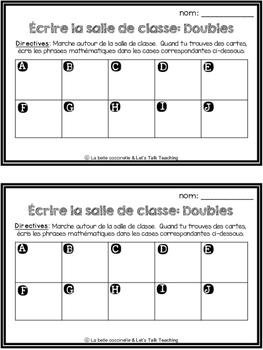 L'addition des doubles - écrire la salle de classe (Write the Room - in French)