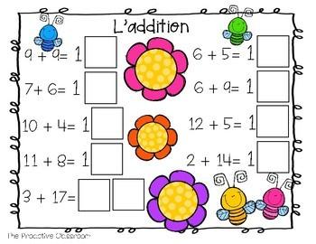 L'addition et la soustraction jusqu'à 20/ French Number Tiles
