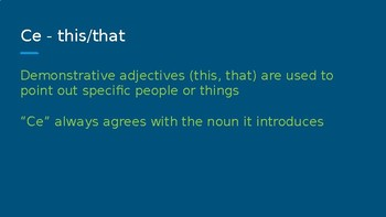 L'adjectif demonstratif et l'adjectif interrogatif