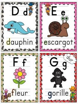 L'alphabet - Affiches - French Alphabet Posters - Thème: cowboys